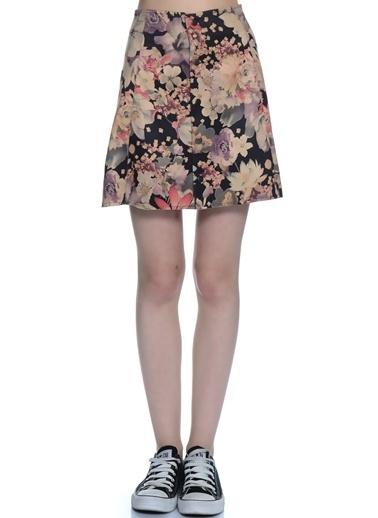 Fashion Çiçekli Mini Etek Renkli